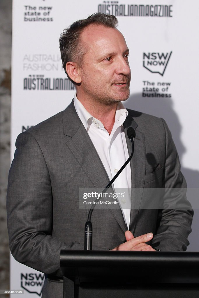 Jarrad Clark, vice President & global director of IMG speaks at the Australian Fashion Laureate during Mercedes-Benz Fashion Week Australia 2014 at Star Lounge, Carriageworks on April 9, 2014 in Sydney, Australia.