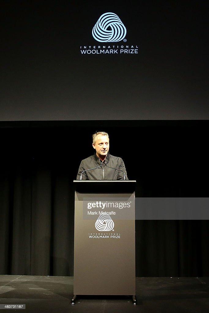 Jarrad Clark, vice President & global director of IMG speaks at the International Woolmark Prize during Mercedes-Benz Fashion Week Australia 2014 at Carriageworks on April 10, 2014 in Sydney, Australia.