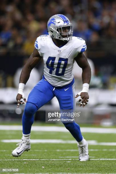 Jarrad Davis of the Detroit Lions defends during a game against the New Orleans Saints at the MercedesBenz Superdome on October 15 2017 in New...