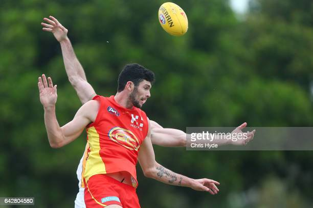 Jarrad Grant of the Suns attempts a mark during the 2017 JLT Community Series match at Broadbeach Sports Centre on February 19 2017 in Gold Coast...
