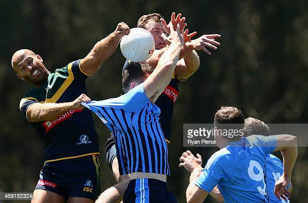 Jarrad McVeigh and Steve Johnson of Australia in action during the International Rules practice match between Australia and the NSW Gaelic Football...