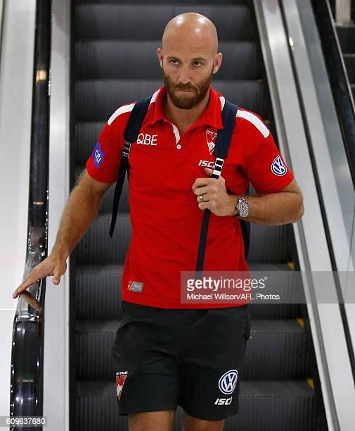 Jarrad McVeigh looks on during a Sydney Swans AFL press conference at the Melbourne Airport on September 22 2016 in Melbourne Australia