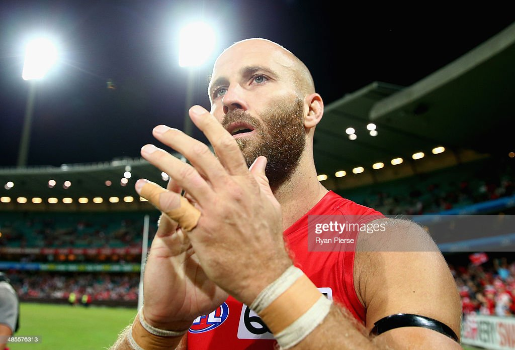 Jarrad McVeigh of the Swans celebrates after the round five AFL match between the Sydney Swans and the Fremantle Dockers at Sydney Cricket Ground on April 19, 2014 in Sydney, Australia.