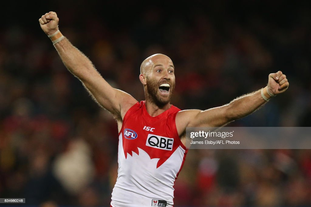 Jarrad McVeigh of the Swans celebrates their win during the 2017 AFL round 22 match between the Adelaide Crows and the Sydney Swans at Adelaide Oval on August 18, 2017 in Adelaide, Australia.