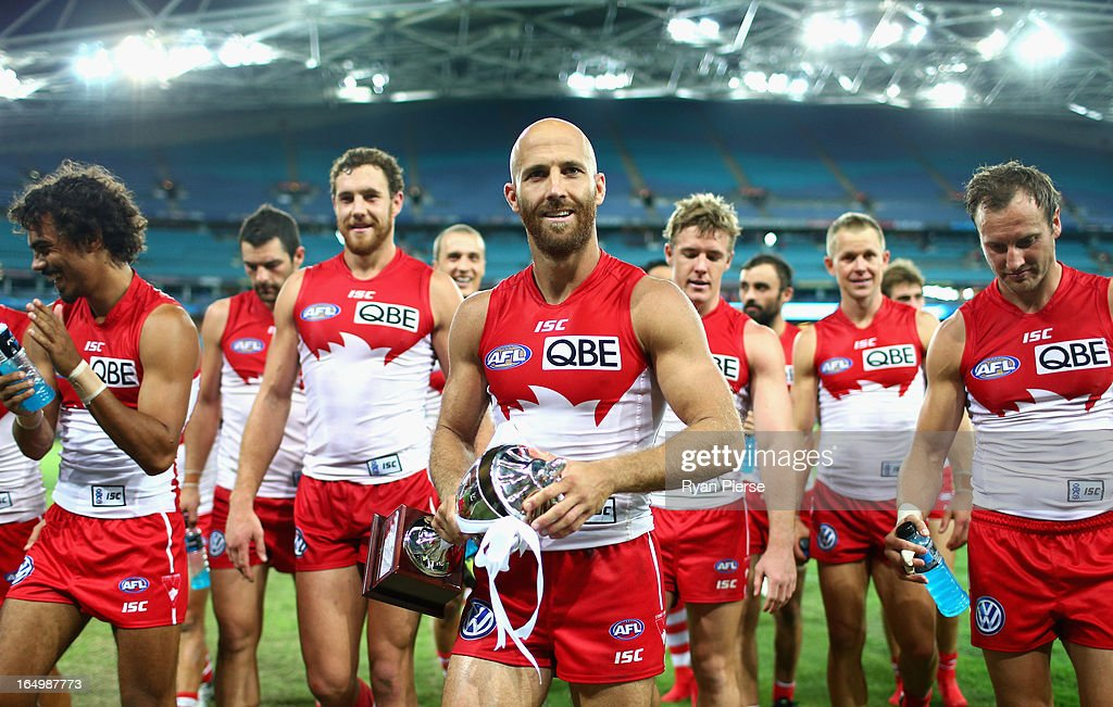 Jarrad McVeigh of the Swans leads his team from the ground after the round one AFL match between the Greater Western Sydney Giants and the Sydney Swans at ANZ Stadium on March 30, 2013 in Sydney, Australia.
