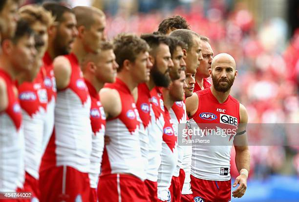 Jarrad McVeigh of the Swans looks on before the First Qualifying Final AFL match between the Sydney Swans and the Fremantle Dockers at ANZ Stadium on...