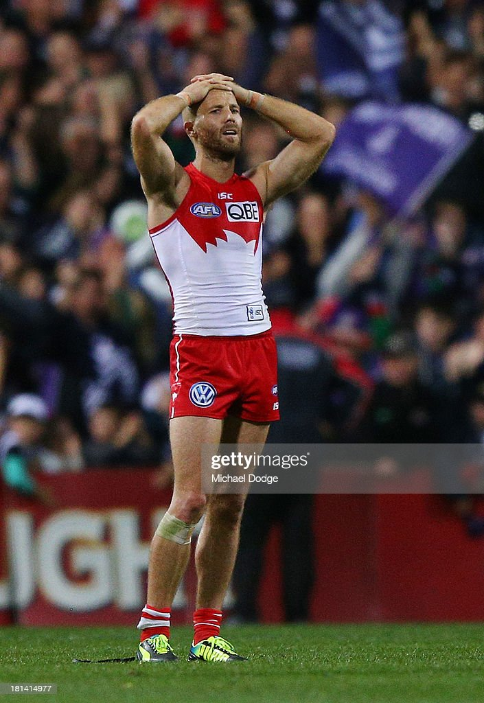 Jarrad Mcveigh of the Swans reacts after losing during the AFL Second Preliminary Final match between the Fremantle Dockers and the Sydney Swans at Patersons Stadium on September 21, 2013 in Perth, Australia.