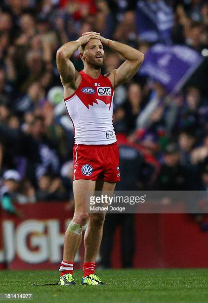 Jarrad Mcveigh of the Swans reacts after losing during the AFL Second Preliminary Final match between the Fremantle Dockers and the Sydney Swans at...