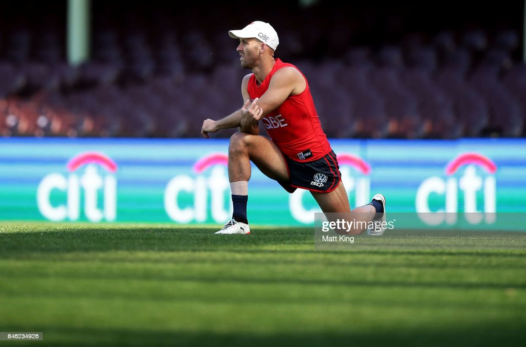 Jarrad McVeigh of the Swans stretches during a Sydney Swans AFL training session at Sydney Cricket Ground on September 13, 2017 in Sydney, Australia.
