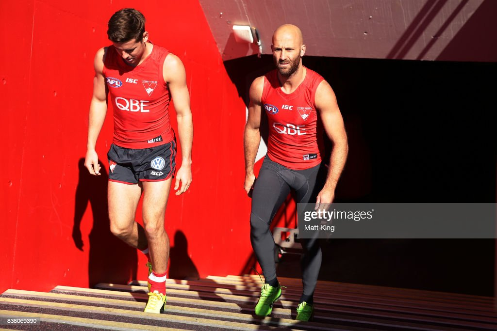Jarrad McVeigh of the Swans takes the field during a Sydney Swans AFL training session at Sydney Cricket Ground on August 24, 2017 in Sydney, Australia.