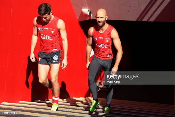 Jarrad McVeigh of the Swans takes the field during a Sydney Swans AFL training session at Sydney Cricket Ground on August 24 2017 in Sydney Australia