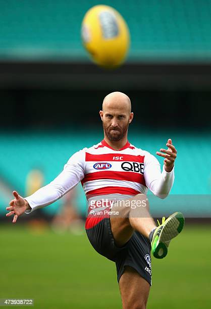 Jarrad McVeigh of the Swans trains during a Sydney Swans AFL training session at the Sydney Cricket Ground on May 19 2015 in Sydney Australia