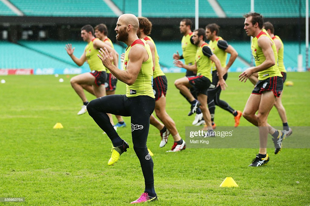 Jarrad McVeigh of the Swans warms up during a Sydney Swans AFL training session at Sydney Cricket Ground on May 31, 2016 in Sydney, Australia.