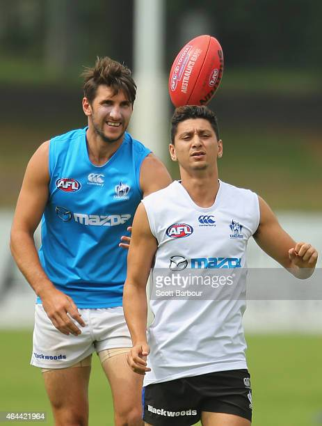Jarrad Waite and Robin Nahas of the Kangaroos compete for the ball during a North Melbourne Kangaroos AFL media session at NMFC on February 26 2015...