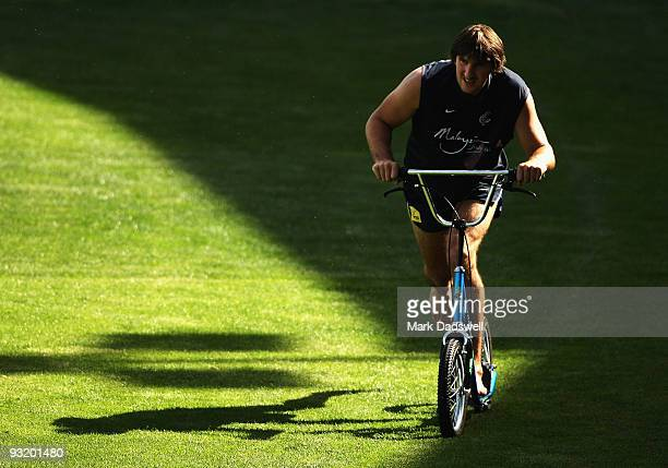 Jarrad Waite of the Blues rides a scooter as part of his rehabilitation during a Carlton Blues AFL training session at Visy Park on November 19 2009...