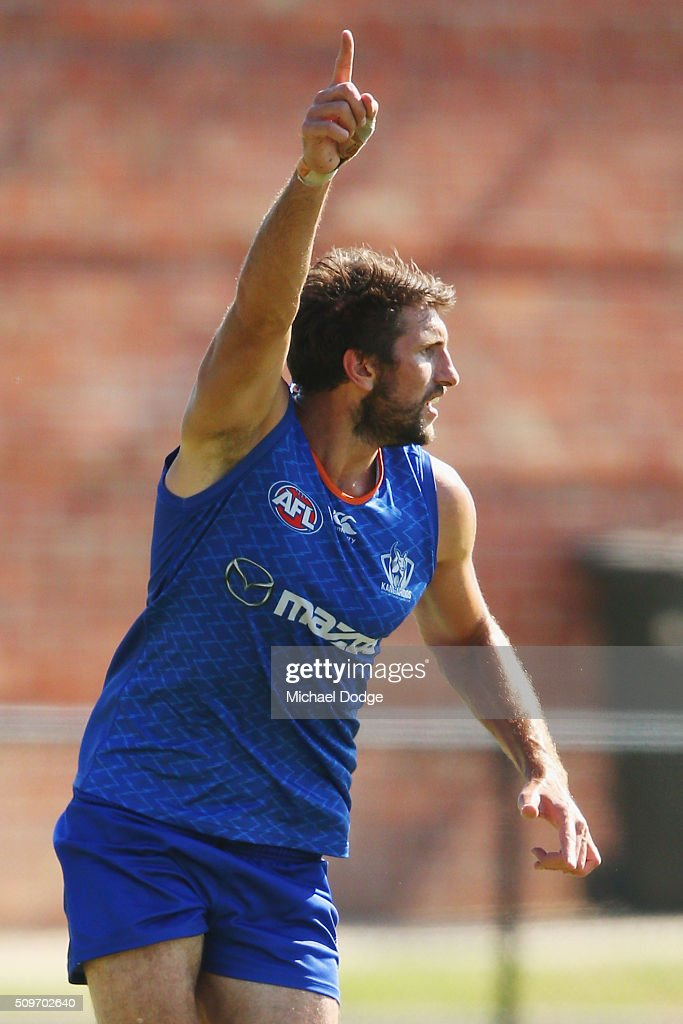 <a gi-track='captionPersonalityLinkClicked' href=/galleries/search?phrase=Jarrad+Waite&family=editorial&specificpeople=224526 ng-click='$event.stopPropagation()'>Jarrad Waite</a> of the Kangaroos calls for the ball during the North Melbourne AFL Intra-Club match at Arden Street Ground on February 12, 2016 in Melbourne, Australia.