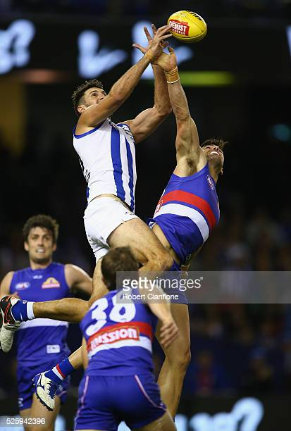 Jarrad Waite of the Kangaroos leaps as he attempts to mark during the round six AFL match between the North Melbourne Kangaroos and the Western...