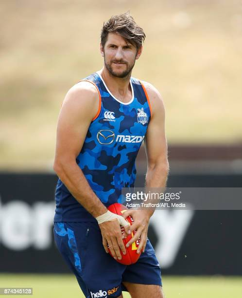 Jarrad Waite of the Kangaroos looks on during the North Melbourne Kangaroos training session at Arden St on November 15 2017 in Melbourne Australia
