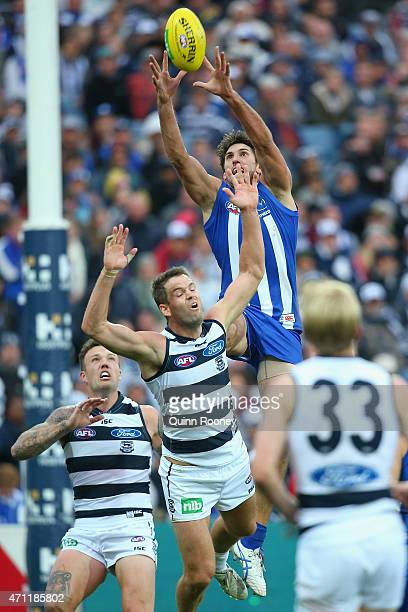 Jarrad Waite of the Kangaroos marks over the top of Jared Rivers of the Cats during the round four AFL match between the Geelong Cats and the North...