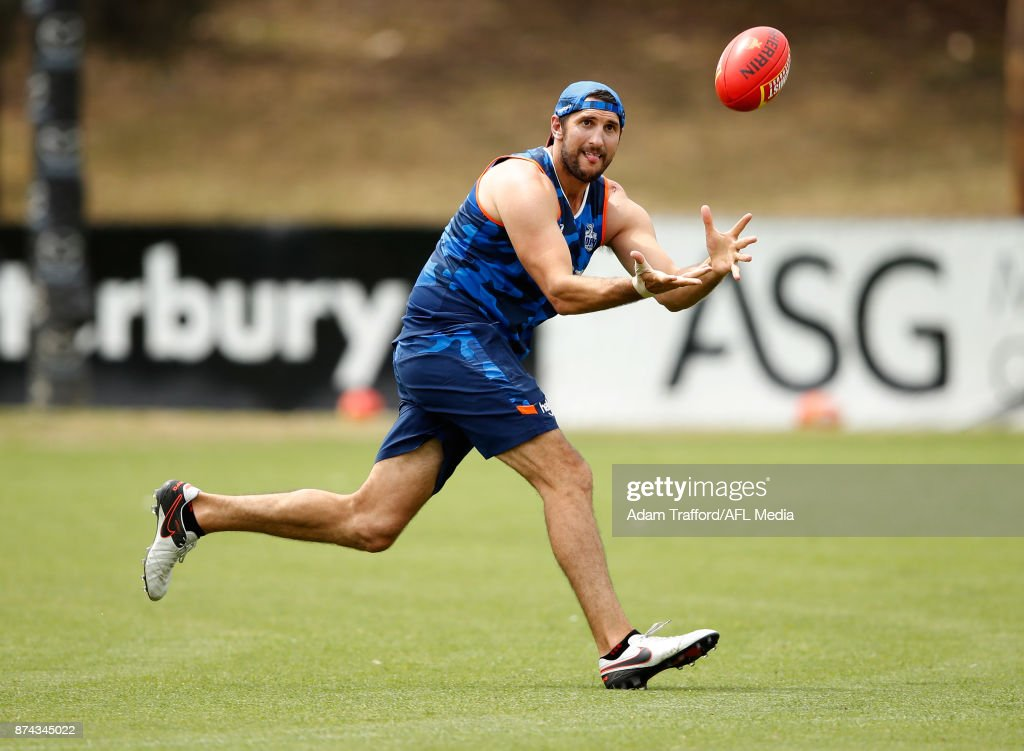 Jarrad Waite of the Kangaroos marks the ball during the North Melbourne Kangaroos training session at Arden St on November 15, 2017 in Melbourne, Australia.