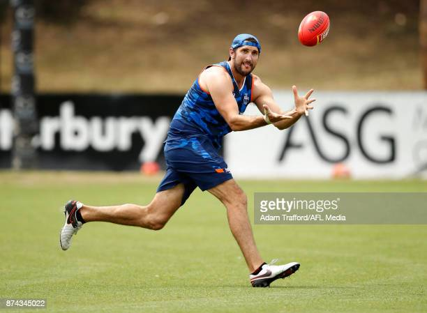 Jarrad Waite of the Kangaroos marks the ball during the North Melbourne Kangaroos training session at Arden St on November 15 2017 in Melbourne...