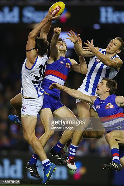Jarrad Waite of the Kangaroos marks the ball during the round 22 AFL match between the North Melbourne Kangaroos and the Western Bulldogs at Etihad...