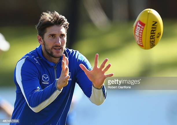 Jarrad Waite of the Kangaroos watches the ball during a North Melbourne AFL training session at Arden Street Ground on July 31 2015 in Melbourne...
