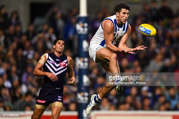 Jarrad Waite of the North Melbourne Kangaroos flies for a mark during the round eight AFL match between the Fremantle Dockers and the North Melbourne...