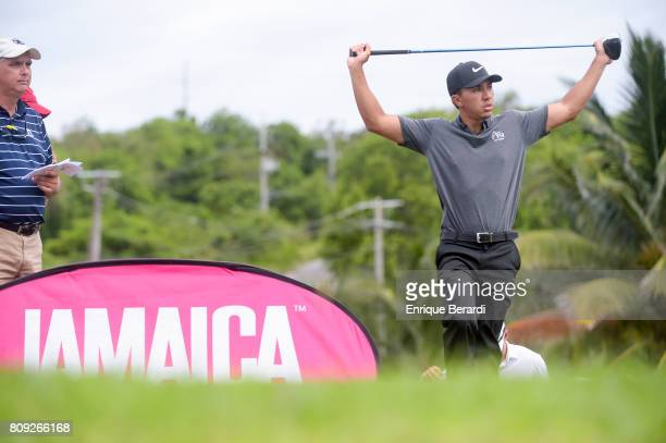 Jarred Garcia of the United States prepares to hit his tee shot during the third round of the PGA TOUR Latinoamerica BMW Jamaica Classic at Cinnamon...