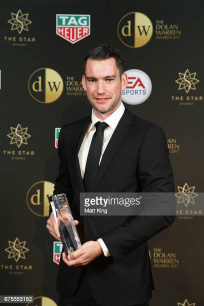 Jarred Gillett poses with the ALeague Referee of the Year award during the FFA Dolan Warren Awards at The Star on May 1 2017 in Sydney Australia