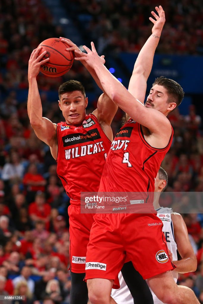 Jarred Kenny of the Wildcats pulls down a rebound during the round one NBL match between the Perth Wildcats and the Brisbane Bullets at Perth Arena on October 7, 2017 in Perth, Australia.