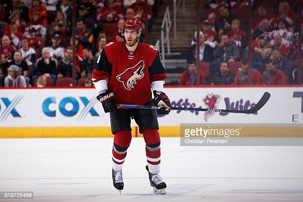 Jarred Tinordi of the Arizona Coyotes in action during the NHL game against the Montreal Canadiens at Gila River Arena on February 15 2016 in...