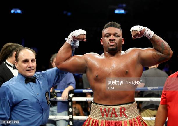 Jarrell Mille celebrates his TKO of Gerald Washington during their heavyweight match on July 29 2017 at the Barclays Center in the Brooklyn borough...
