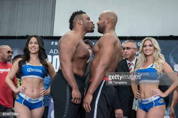 Jarrell Miller and Gerald Washington face off at the Adrien Broner vs Mikey Garcia Official Weigh In at the Marriot Hotel July 28 2017 in Brooklyn...