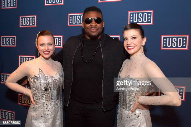 Jarrell Miller and The Rockettes attend Fleet Week NY 2017 Official KickOff Party at Hard Rock Cafe New York on May 24 2017 in New York City