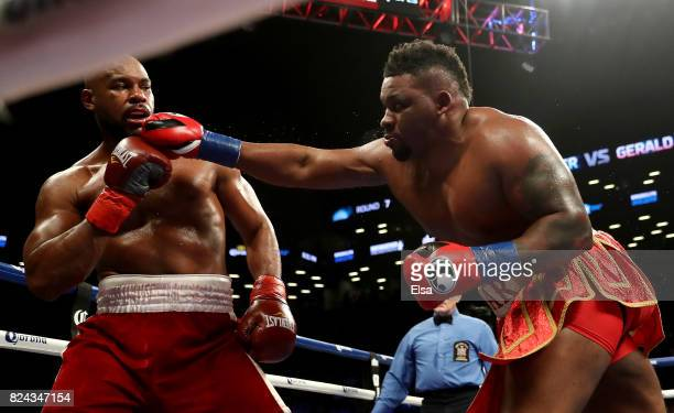 Jarrell Miller corners Gerald Washington during their heavyweight match on July 29 2017 at the Barclays Center in the Brooklyn borough of New York...