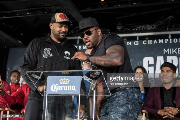 Jarrell Miller speaks to the press during the Adrien Broner vs Mikey Garcia Final Press Conference at the Dream Hotel July 27 2017 in New York City