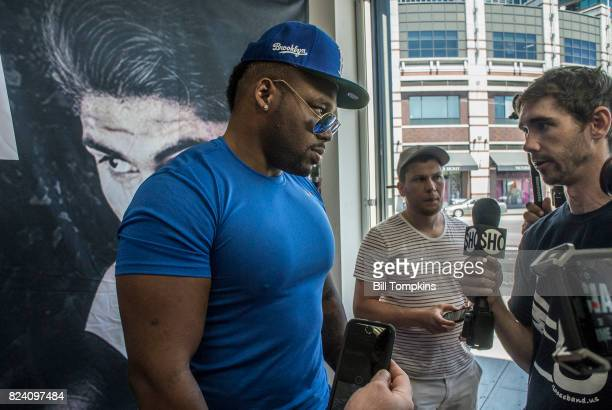Jarrell Miller speaks to the Press the Adrien Broner vs Mikey Garcia Media Workout Day at Modell's Sporting Goods July 26 2017 in the Brooklyn...