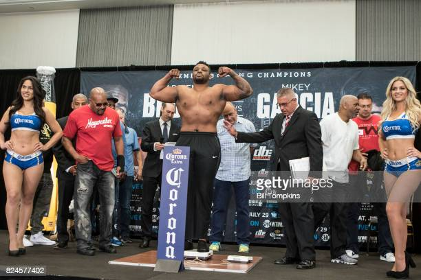 Jarrell Miller weighs in for his upcoming fight at the Adrien Broner vs Mikey Garcia Official Weigh In at the Marriot Hotel July 28 2017 in Brooklyn...