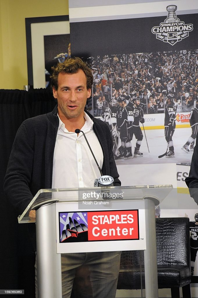 <a gi-track='captionPersonalityLinkClicked' href=/galleries/search?phrase=Jarret+Stoll&family=editorial&specificpeople=204632 ng-click='$event.stopPropagation()'>Jarret Stoll</a> addresses the crowd as the Los Angeles Kings kick-off the club's 2012-13 Regular Season with a press conference featuring Kings Governor Tim Leiweke, President/General Manager Dean Lombardi , President, Business Operations Luc Robitaille and Head Coach Darryl Sutter at Staples Center on January 10, 2013 in Los Angeles, California.