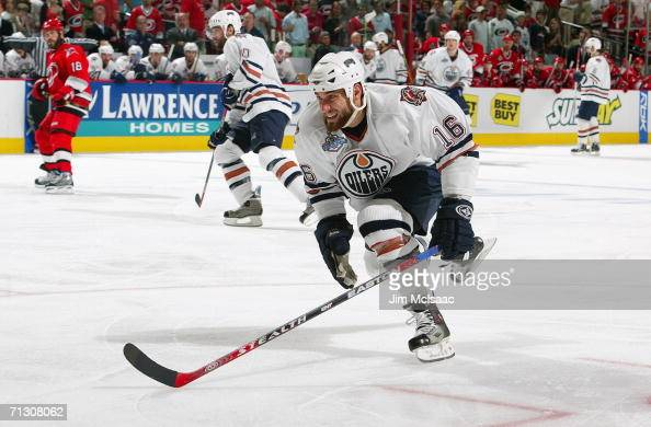 Jarret Stoll of the Edmonton Oilers skates on the forecheck against the Carolina Hurricanes during game seven of the 2006 NHL Stanley Cup Finals on...
