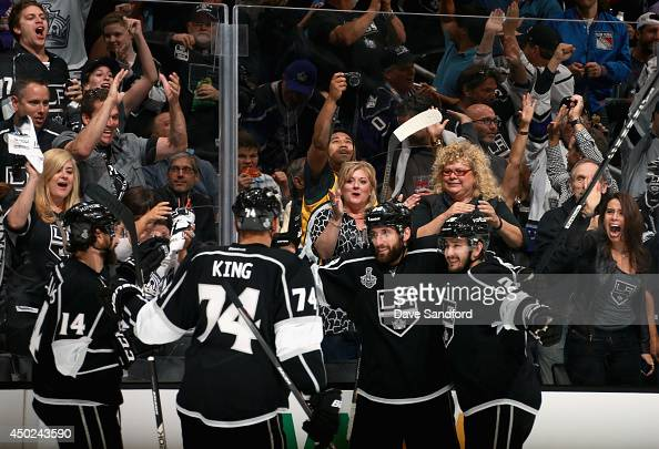 Jarret Stoll of the Los Angeles Kings celebrates his goal in the second period with teammates during Game Two of the 2014 Stanley Cup Final at...