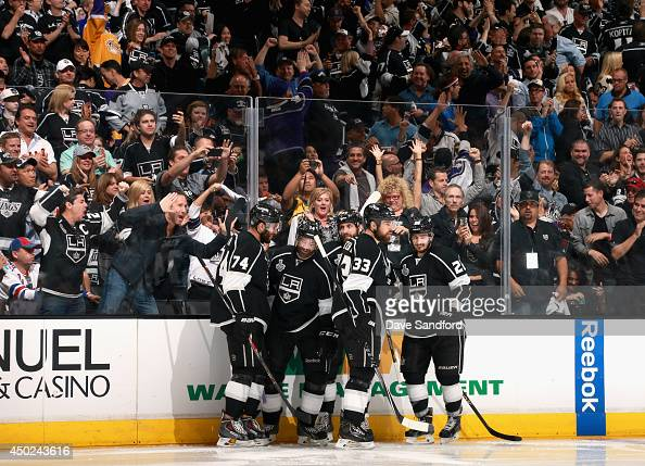 Jarret Stoll of the Los Angeles Kings celebrates his goal in the second period with teammates during Game Two of the 2014 Stanley Cup Final against...