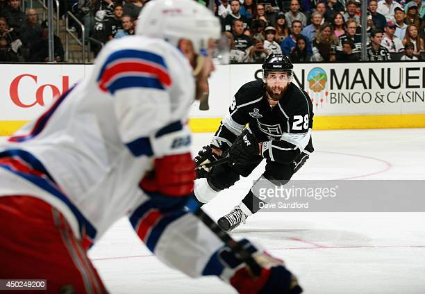Jarret Stoll of the Los Angeles Kings plays against the New York Rangers during overtime of Game Two of the 2014 Stanley Cup Final at Staples Center...