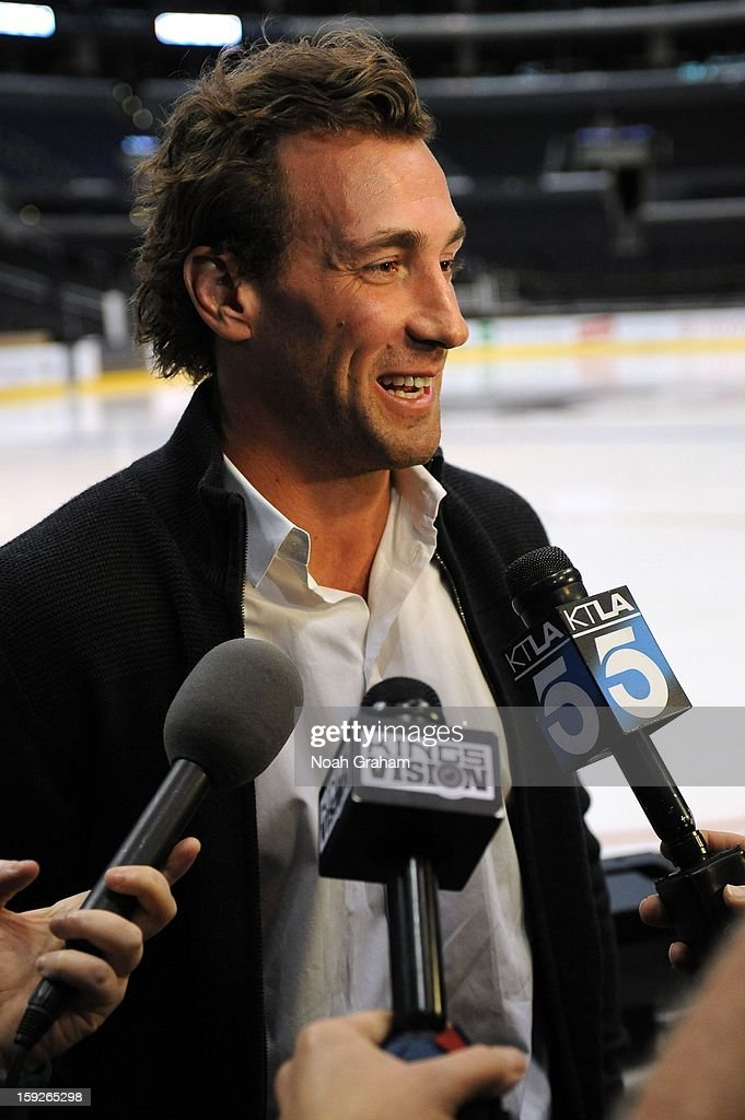 Jarret Stoll speaks during an interview as the Los Angeles Kings kick-off the club's 2012-13 Regular Season with a press conference featuring Kings Governor Tim Leiweke, President/General Manager Dean Lombardi , President, Business Operations Luc Robitaille and Head Coach Darryl Sutter at Staples Center on January 10, 2013 in Los Angeles, California.