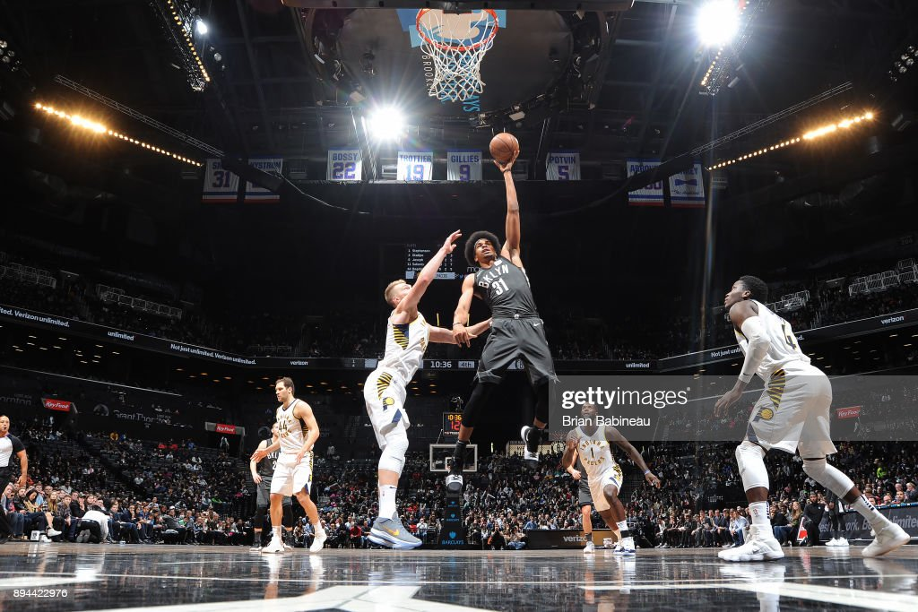 Jarrett Allen #31 of the Brooklyn Nets drives to the basket against the Indiana Pacers on December 17, 2017 at Barclays Center in Brooklyn, New York.