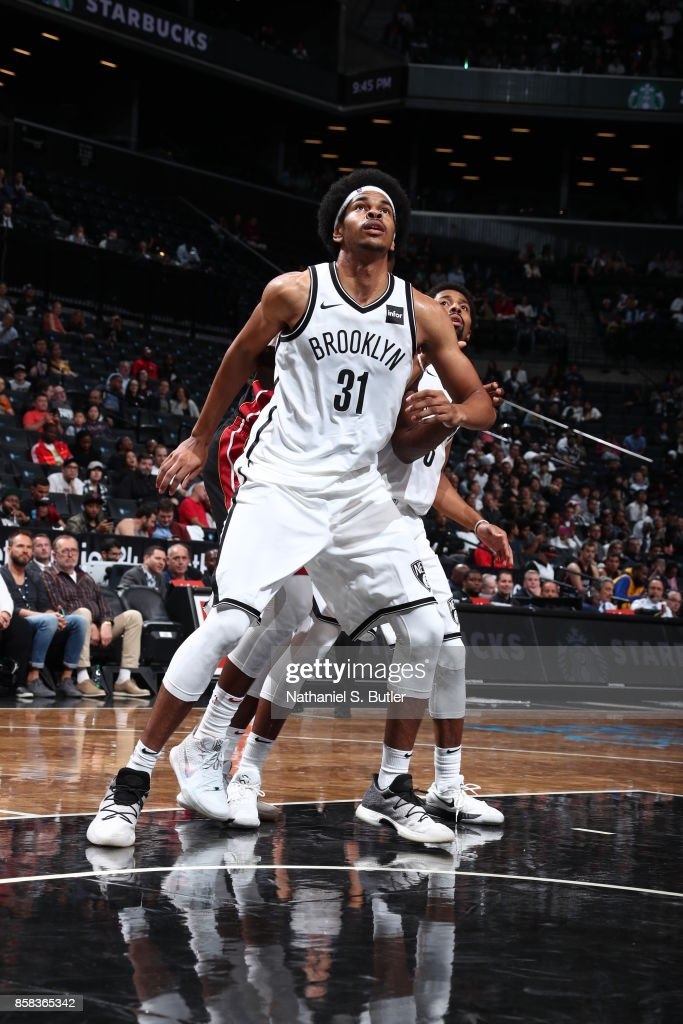 Jarrett Allen #31 of the Brooklyn Nets fights for position against the Miami Heat during a preseason game on October 5, 2017 at Barclays Center in Brooklyn, New York.