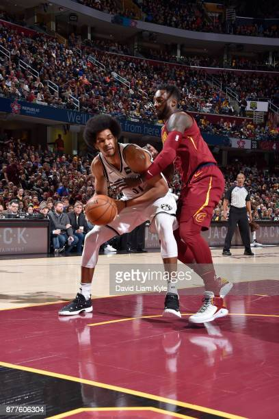 Jarrett Allen of the Brooklyn Nets handles the ball against Jeff Green of the Cleveland Cavaliers on November 22 2017 at Quicken Loans Arena in...