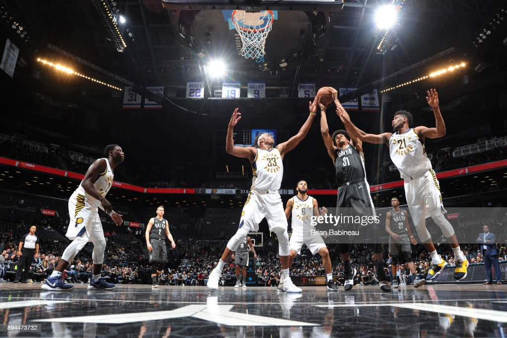 Jarrett Allen #31 of the Brooklyn Nets handles the ball against the Indiana Pacers on December 17, 2017 at Barclays Center in Brooklyn, New York.
