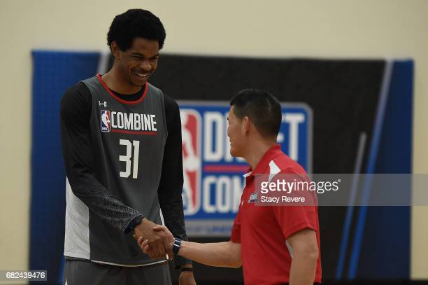 Jarrett Allen participates in drills during Day Two of the NBA Draft Combine at Quest MultiSport Complex on May 12 2017 in Chicago Illinois NOTE TO...